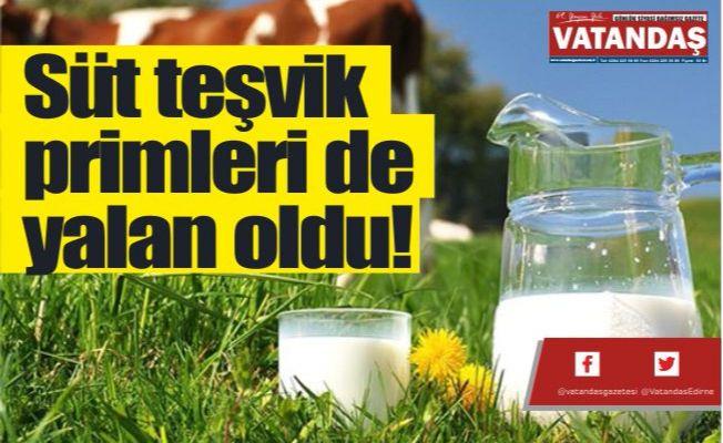 Süt teşvik  primleri de  yalan oldu!