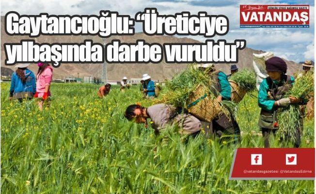 """GAYTANCIOĞLU: """"ÜRETİCİYE YILBAŞINDA DARBE VURULDU"""""""