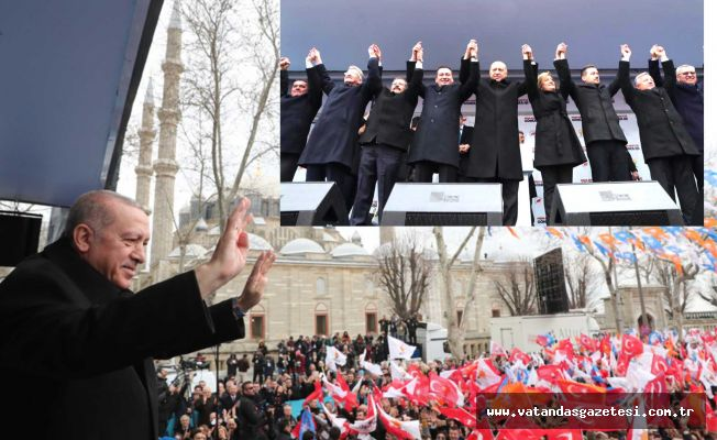 Cumhurbaşkanı Recep Tayyip Erdoğan Edirnelilerle Buluştu  ERDOĞAN'A SEVGİ SELİ
