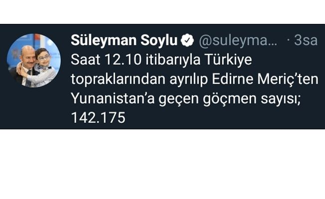 """BAKAN SOYLU AÇIKLADI  """"142 BİN GÖÇMEN SINIRI GEÇTİ"""""""
