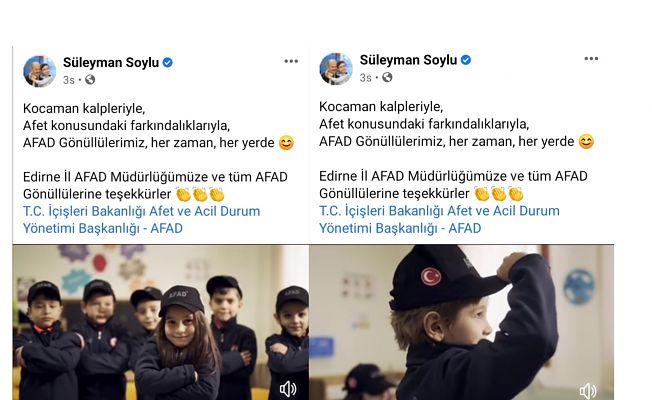 BAKAN SOYLU'DAN EDİRNE AFAD'A TEŞEKKÜR